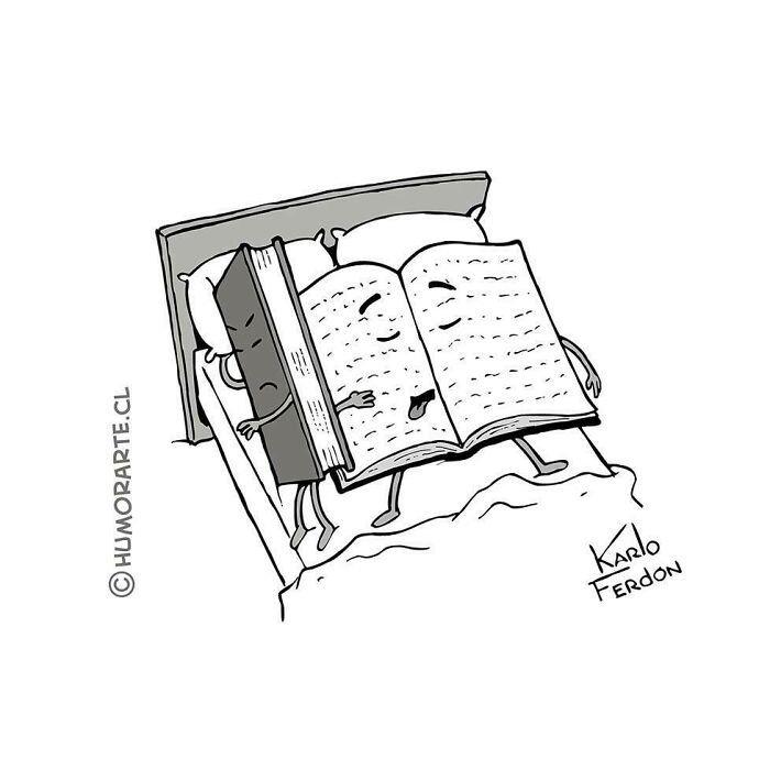 libros en la cama