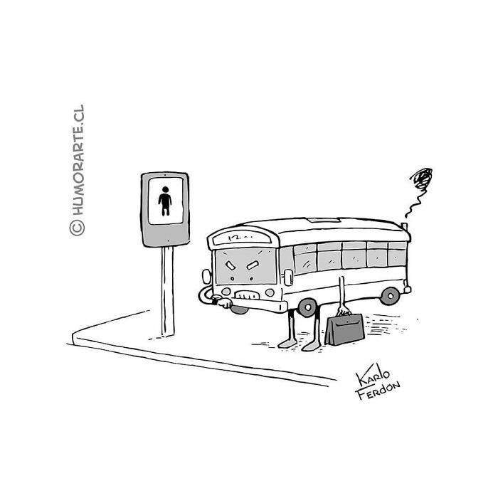 tira comica de un autobus