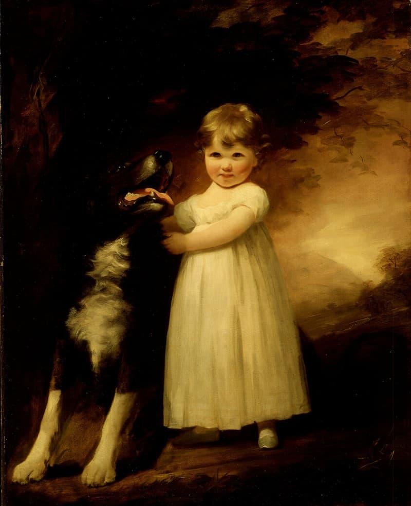 cuadro de una niña con un perro