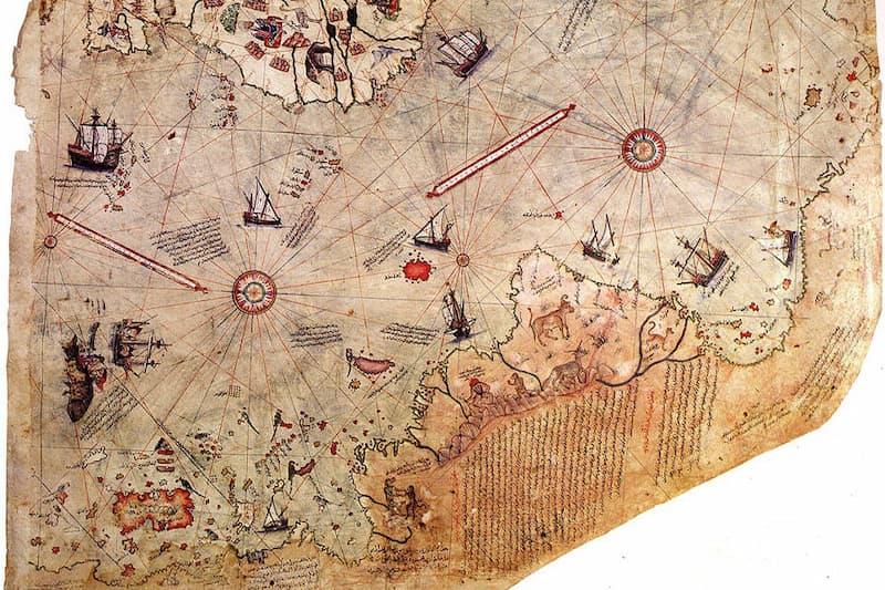 anotacion en el mapa de piri reis