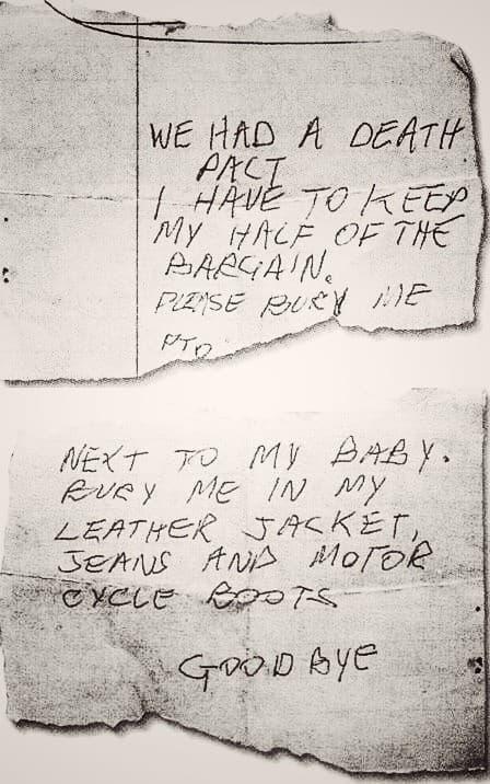nota de suicidio de Sid Vicious