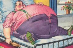 hombre obeso acostado en la cama