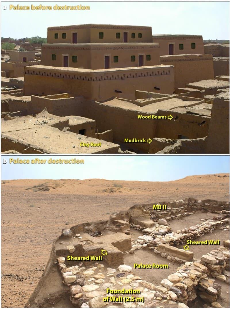palacio antes y después de la destrucción