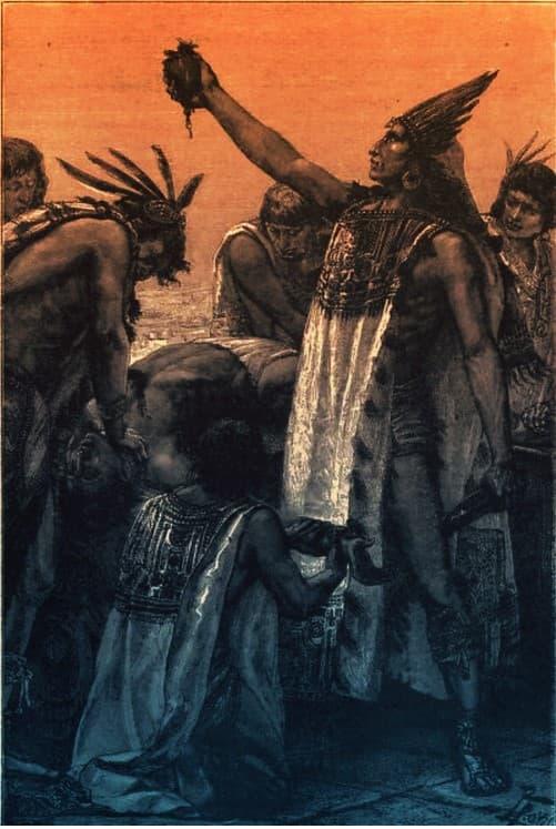 azteca ofreciendo corazon despues de sacrificio